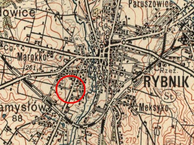 Mapa z zaznaczonym miejscem wydarzeń