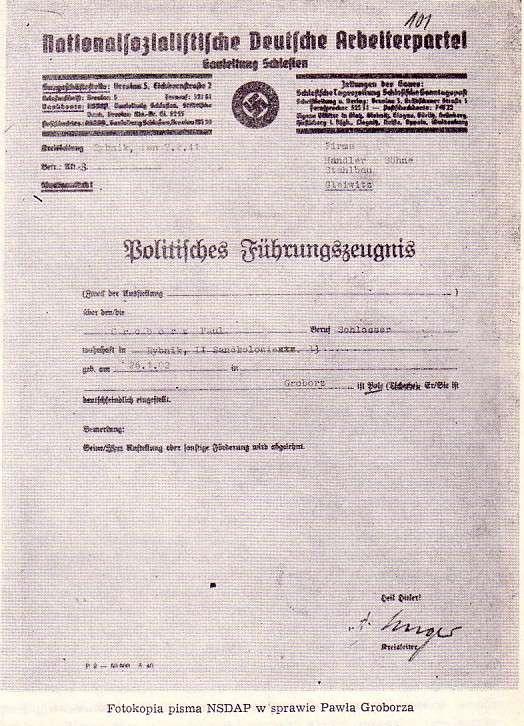 Pismo NSDAP dotyczące Pawła Groborza