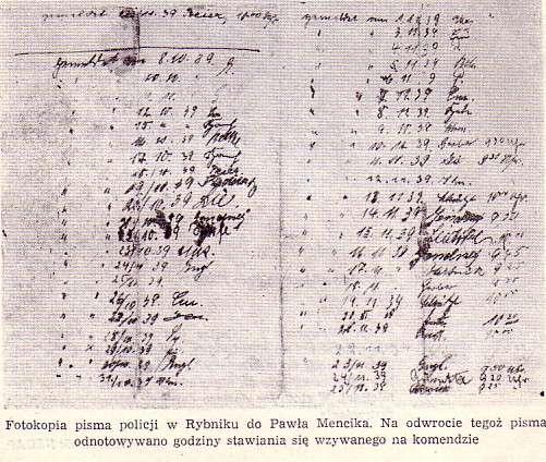 Pismo dotyczące Pawła Mencika - zawiera godziny zgłaszania się na komisariacie