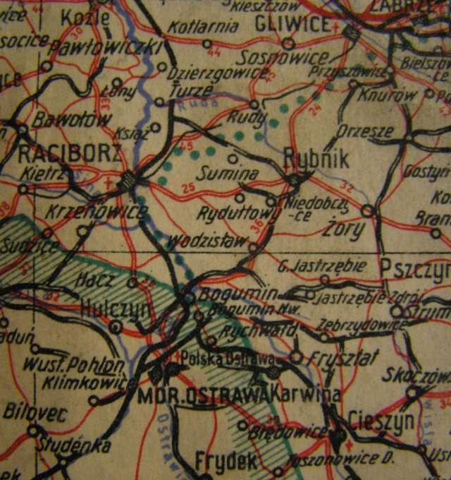 Okolice Rybnika w 1945 r. z zaznaczonym przebiegiem byłej granicy polsko-niemieckiej.