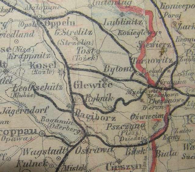 Zachodnia niemiecka granica w okolicach Rybnika przed I wojną światową.