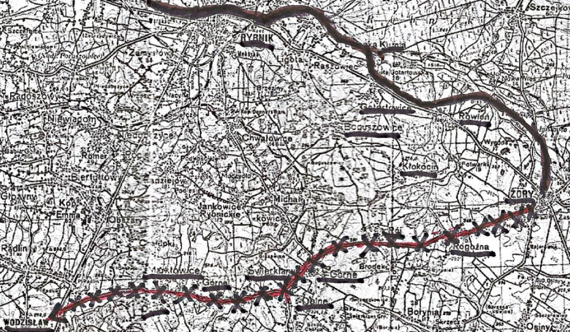 Przybliżona linia frontu sowiecko-niemieckiego (25.01.-23.03.1945) Linia ciągła: linia frontu (25.01.-23.03.1945) Linia z przekreśleniami: oś ofensywy sowieckiej z Żor do Wodzisławia od 23.03.1045
