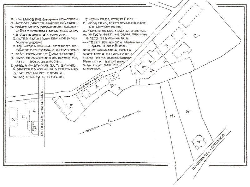 Mapka posiadłości rodziny Haase w drugiej poł. XIX w.