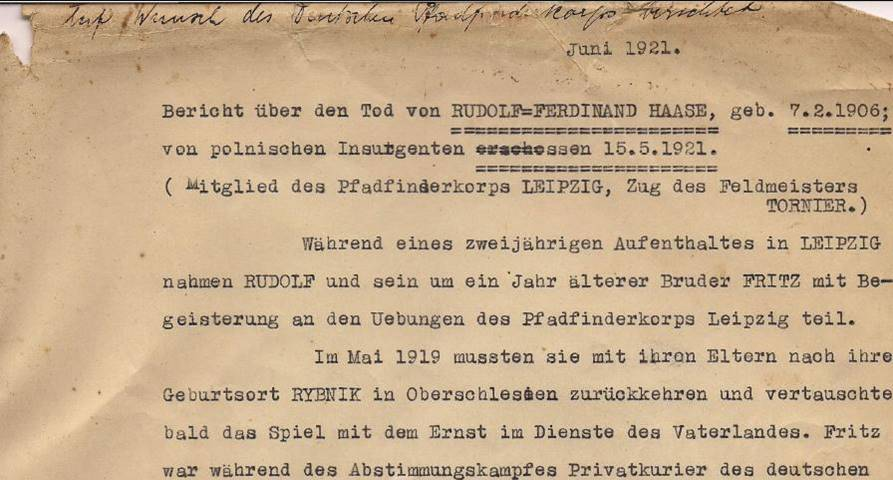 Fragment oryginalnej relacji Feliksa Haase, sporządzonej po śmierci syna