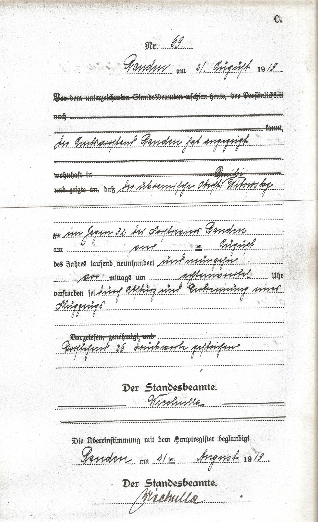 """Kopia aktu zgonu Dmitro Witowskiego wydanego 21 sierpnia 1919 r. Podana data i godzina śmierć to 4 sierpnia 1919 roku """"im Segen 32 der Forstrevier Rauden am vierten August des Jahres 1919 vormitags um achteinviertel Uhr"""""""
