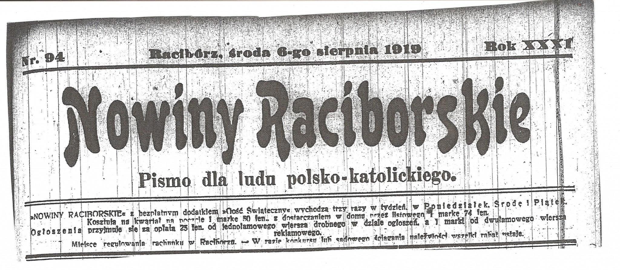 Nowiny Raciborskie z 6 sierpnia 1919 r.