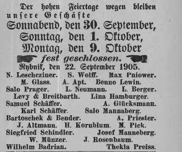 Nowy Rok zamkniecie 1905 Rybniker Kreisblatt