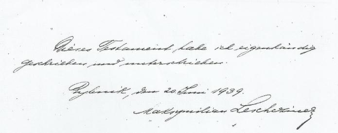 Podpis Leschczinera na testamencie
