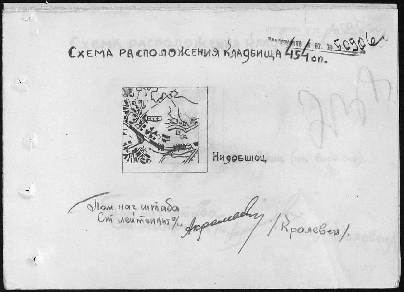 Szkic z zaznaczonymi pochówkami żołnierzy Armii Czerwonej w Niedobczycach.