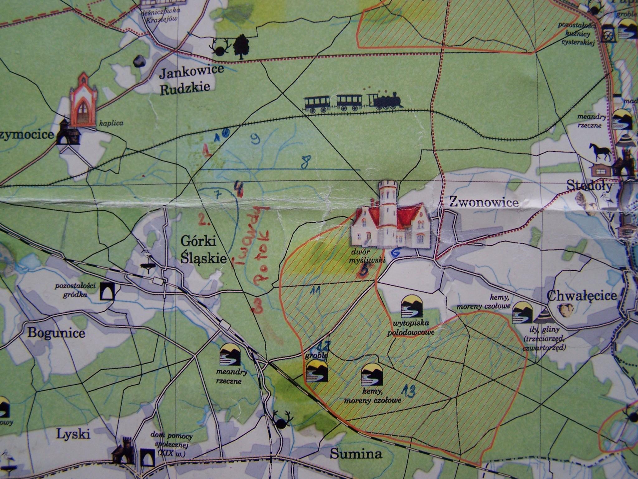 Mapa lasów z Twardym Potokiem i innymi obiektami.