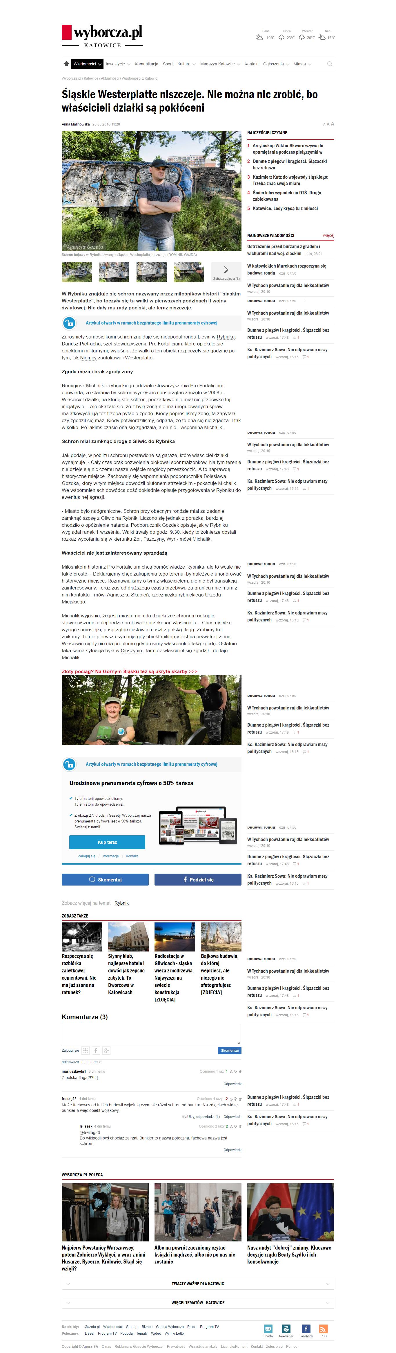 2016-05-27 - Gazeta Wyborcza - Walki o schron przy rondzie Lievin