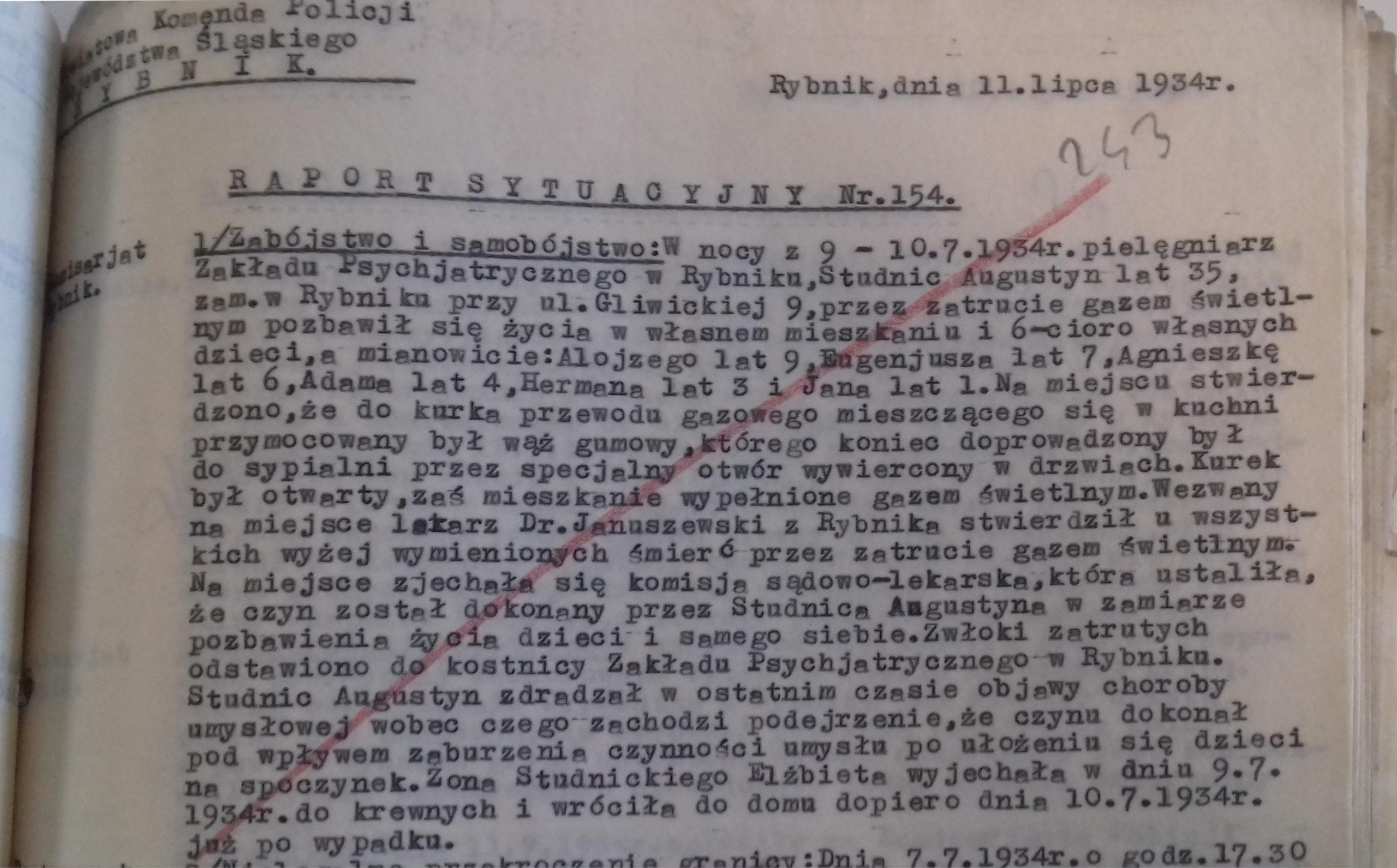 Raport sytuacyjny Komendy Powiatowej Policji w Rybniku z dn. 11.07.1934r.